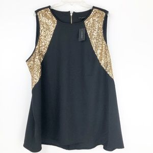 Lane Bryant Womens 22 Black Gold Blouse Top Sequin